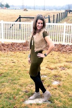 Thursday Fashion Files with @DousedinPink is LIVE! Our co-host this week is @sheelagoh. For today's outfit, I decided to style my lovely olive dress again for y'all and this time I paired it with a warm fur vest, black tights and my comfortable TOMS wedges. I actually wore this out on a datewith thehubs for his birthday dinner.