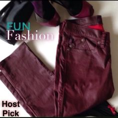"""🎉Host Pick🎉 Dark Red Coated R&R Skinny Jeans These are Dark Red Coated Rock & Republic Berlin Skinnies. Super cute, Fun and flirty. Definitely a must have for those Fun Friday Nights. These are a Dark Red and Coated the waist is 28', rise is 8' and inseam is 31' 🎉💥Host Pick """"Weekend Wardrobe Party"""" on May 30, 2015💥🎉 Rock & Republic Jeans Skinny"""