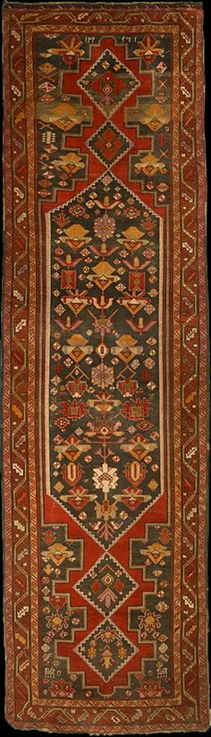 Antique Zangezur rug, Megri District. dated in hijri (lunar) year, 1340 (=1921), woven by the local Azerbaijani Turks in the first quarter of the 20th century. 115x390cm. The History Museum of Armenia