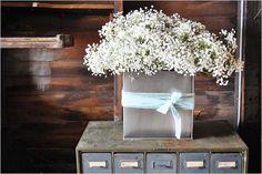 using a floral holder for baby's breath | babys breath centerpiece diy wedding flowers