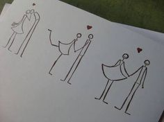 """Three Stick Figure Couples in Love with """"Congratulations"""" - Handmade Eco-Friendl. Three Stick Figure Couples in Love with """"Congratulations"""" - Handmade Eco-Friendly Greeting Card. Love Doodles, Cute Stationary, Drawn Art, Doodle Lettering, Stick Figures, Couples In Love, Doodle Art, Wedding Cards, Art Drawings"""