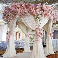 dusty rose wedding arch with white cloth and cascading white pink flowers vardan_petrosyan Wedding Mandap, Wedding Ceremony, Wedding Venues, Outdoor Ceremony, Ceremony Backdrop, Outdoor Weddings, Dubai Wedding Dress, Wedding Canopy, Backdrop Stand