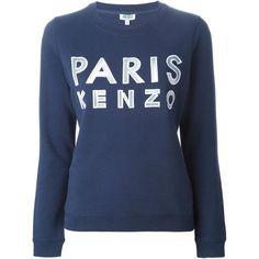 Kenzo Paris Kenzo Sweatshirt (610 PEN) ❤ liked on Polyvore featuring tops, hoodies, sweatshirts, sweaters, blue, sweat shirts, long sleeve tops, kenzo, long sleeve cotton tops and long sleeve sweatshirt