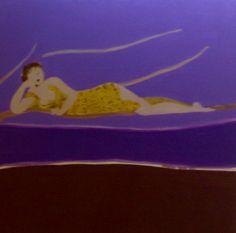 """MEDIHA TEKIN """"Ma Mere"""" Oil on Canvas 23"""" x 47"""""""