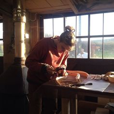 I would like to introduce @catrionathomas my apprentice. Glorious day up at #aliceblogg HQ. Lampshade in the making.