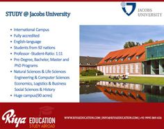 STUDY @ Jacobs University !!! #Germany #studyabroad #Highereducation #jacobsuniversity Visit our website http://riyaeducation.com/contact/