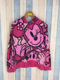 15a831c3cd5c7 MINNIE MOUSE Hoodie Jumper Teen Medium Vintage 90s Sweater All Over Print  Mickey Mouse Walt Disney Cartoon Hoodie Sweatshirt Ladies Size M