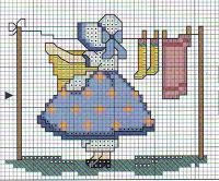cross stitch sunbonnets for putting in centre of quilt block