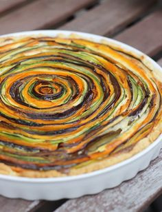 Vegetable Tart - site (and recipe) in German but looks so pretty I had to share it! Zucchini, eggplant, carrots. Yum.| eatbakelove