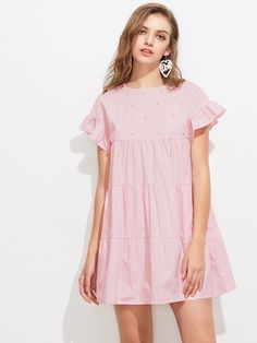 To find out about the Pearl Embellished Ruffle Sleeve Tiered Dress at SHEIN, part of our latest Dresses ready to shop online today! Casual Cotton Dress, Cotton Dresses, Casual Dresses, Fashion Dresses, Short Sleeve Dresses, Summer Dresses, Dresses Dresses, Pink Dress Casual, Ruffle Sleeve Dress