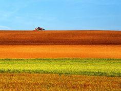 2015年09月28日-法国博纳,一辆艳红的拖拉机驶过田野,天空,田地,绿草分为三层,宛若油画。摄影师:Massimo Della Latta (分享自@iWeekly周末画报)