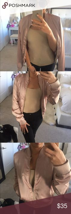 Blush pink satin bomber Light satin like bomber in size small. Fits xs too. It is thin and only worn once. From wetseal. Has a little liquid stain i dont know what it is might be able to wash off (last pic). Wet Seal Jackets & Coats