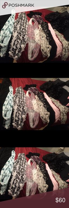10 - Scarves 10-Scarves. Great condition, pre-owned. 2 skulls, 1 skulls with crowns, black, pink, Marilyn munroe, infinity white w/ print, black w/ metallic, lipstick girlie, knitted one of a kind purple, Ready for another fall/winter season. Please feel free to ask questions. Will not separate. none Accessories Scarves & Wraps