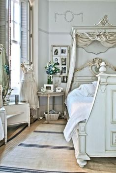French shabby chic...so romantic... I'll build a cornice and adds curtains to the bed.