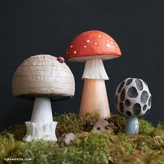 DIY Fairy Tale Mushrooms - Lia Griffith-Decoupage your own fantasy world with these cute and unique fairy tale mushrooms! Easily incorporate them into your garden decor or themed parties Paper Crafts For Kids, Foam Crafts, Diy Paper, Diy For Kids, Paper Crafting, Decor Crafts, Paper Art, Origami Templates, Box Templates