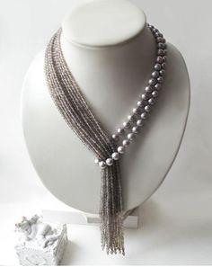 Rain BLUE Light blue Chunky Multistrand Crochet Layered Beaded necklace Shiny Elegant Summer Wedding Bridesmaid Wear