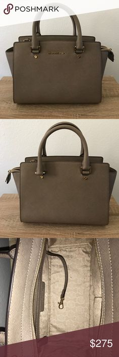 Authentic Medium Selma Purse (can ship same day) Authentic, barely used MK purse with detachable straps, NWOT. Tan/Taupe color, was the last one in this style&color when I bought it @the MK store. No marks, or stains on the inside, just slight scratches on the bottom of the bag, on the gold part, but you can hardly notice unless you flip the bag upside down! Other than that NO FLAWS/IMPERFECTIONS AT ALL! Does have two pockets inside, and another pocket on the opposite side, which closes with…