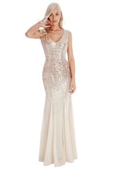 Sequin and Chiffon Maxi Dress - Champagne - Front - DR627
