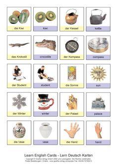 Goethe-Verlag: LEARN ENGLISH cards - LERN DEUTSCH Karten Germany Language, German Language Learning, German Words, Learn German, Languages, Popcorn, Printables, Education, German Language