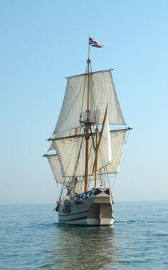 Godspeed sailing from Jamestown, Jamestown National Historic Site, Jamestown, Virginia -