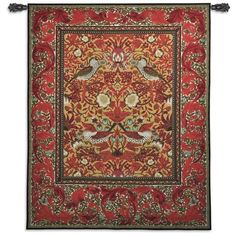 This wall tapestry features a still life of three clay urns. Ripe pomegranates add color to this wall hanging while...