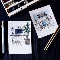 Stylish home offices.  more: #atomorfen_sketch Стильные рабочие пространства.