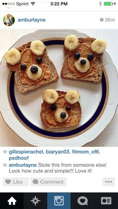 food bears: bread, bananas, and i am not sure what they nose and eyes