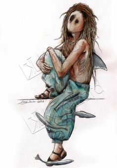 Kinglizard.art #nabote #kinglizard.art #shark #dread #illu #art #diy #rbon #woman #alternatif # sea