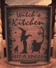 primitive Halloween decorations Witches Kitchen tray Witch Sign cats signs Handpainted goth Witchcraft Folk Art Hearth Pagan Wiccan Magic by SleepyHollowPrims $36