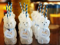 goldilocks and the 3 bears party! the link for the activities are at the bottom of the post too. I also really liked the idea of hanging up pictures of the birthday child from baby up to their current age - so many cute ideas! Honey Bear Bottle, Honey Bottles, Picnic Birthday, 8th Birthday, Birthday Ideas, Birthday Parties, Tea Parties, Build A Bear Party, Polar Bear Party
