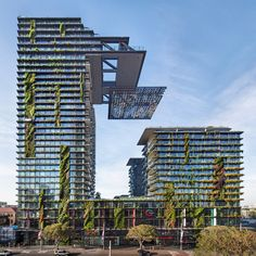French architect Jean Nouvel teamed up with botanist Patrick Blanc to create this pair of plant-covered Sydney towers that reflect light into their lower levels with a huge cantilevered panel of mirrors. NamedOne Central Park, the complex is the centrepiece of a AUS$2 billion masterplan in downtown Sydney by developers Frasers Property Australia and Sekisui