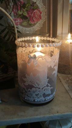 Photophore d'intérieur dentelle et perles Shabby : Accessoires de maison par les-intemporels