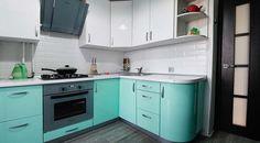 Голубая кухня в интерьере Decor, Furniture, House, Home, Kitchen Cabinets, Cabinet, Kitchen
