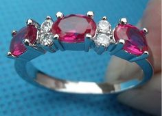 1.5ct Ruby 14k White Gold Filled Ring Sz 8.5 starts @$20.00 @tophatter