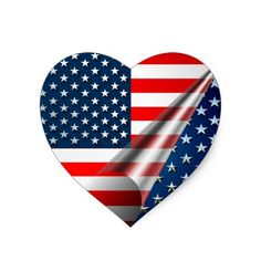 US Flag Heart Sticker