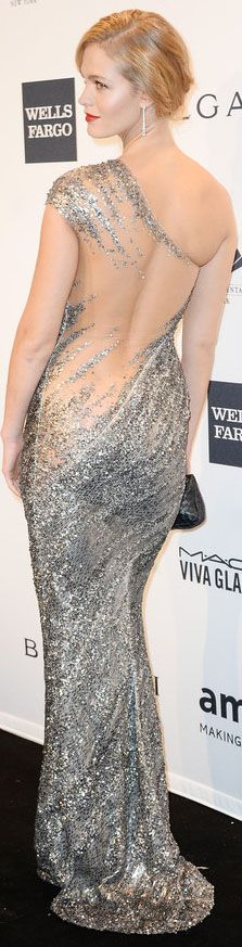Erin Heatherton - 2014 amfAR New York Gala 2/5/14...... WOE, to much fat... up, right, where the dress ends....WOW!