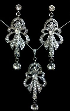 Art Nouveau Wedding, Swarovski Necklace and Earrings - CHRYSLER SET