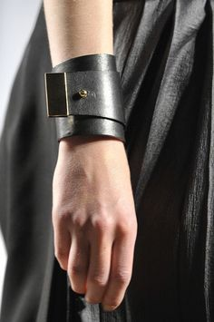 Black leather cuff, stylish statement jewellery