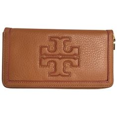 Pre-owned Brand New With Tags Tory Burch Jessica Continental Wallet... ($160) ❤ liked on Polyvore featuring bags, wallets, luggage, leather continental wallet, brown leather bag, brown leather wallet, tory burch and tory burch bags