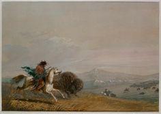 Pawnee running buffalo - Alfred Jacob Miller - - done around 1828 - Walters Art Gallery, Baltimore, Maryland History Class, Us History, Bizon, Jacob Miller, Man Art, Baltimore Maryland, Mountain Man, Western Art, Buffalo