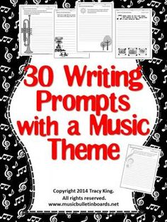 Writing Prompts with a Music Theme-set of 30 | for the sub tub?