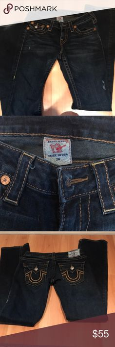 True religion jeans Great pre-loved condition. Straight leg. Nice dark wash that won't rub off on skin or clothes. Go to pair of jeans for any closet True Religion Jeans Straight Leg