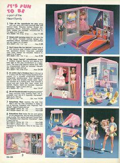 1989 Sears Christmas Catalog by Wishbook - Heart Family Barbie size dolls. CC had the elephant slide set & the school desk. Barbie 80s, Barbie World, Vintage Barbie, Vintage Dolls, Christmas Barbie, Vintage Christmas, Childhood Toys, Childhood Memories, Ballerina Barbie