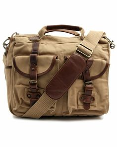 Besace Cuir Canvas McQueen Sable BARBOUR