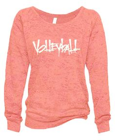 Ladies Abstract Volleyball Coral Burnout Fleece Crew - in 5 Design Colors