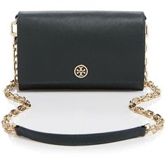 Tory Burch Crossbody - Robinson Saffiano Wallet on a Chain (390 CAD) ❤ liked on Polyvore featuring bags, handbags, shoulder bags, cross body purse, crossbody purse, crossbody handbags and chain shoulder bag