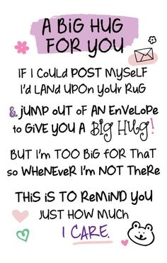 A Big Hug For You Inspired Words Keepsake Credit Card & Envelope Hugs And Kisses Quotes, Hug Quotes, Kissing Quotes, Life Quotes, Big Hugs For You, Hug You, Love And Hugs, Grandma Quotes, Daughter Quotes