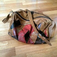 Brown leather patchwork bag, found a couple of years ago in my grandmothers apartment. Now mine mine mine! <3