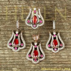 Hurrem Sultan Set Tulip Marquise Ruby Color Ottoman Jewelry 925SS #Unbranded