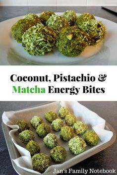 Are you looking for a healthy snack recipe to give you an energy boost? Try these Coconut, Pistachio Nut and Matcha Energy Bites Balls. Quick and easy to make, they taste delicious. Vegan Snacks, Healthy Snacks, Healthy Recipes, Delicious Snacks, Diet Snacks, Vegan Foods, Yummy Food, Tea Recipes, Snack Recipes
